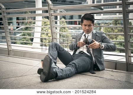 Businessman have no money unemployed concept Bankrupt concept Salaryman problem Concept