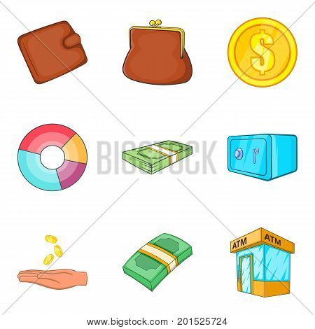 Bribe icons set. Cartoon set of 9 bribe vector icons for web isolated on white background
