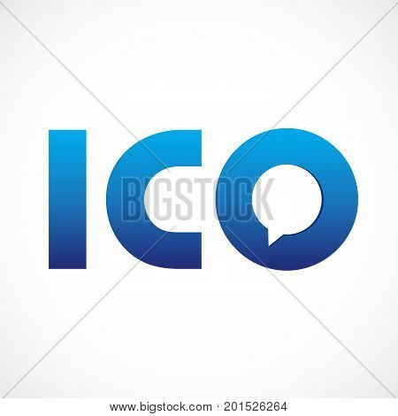 Initial coin offering ICO company logotype. Initials i, c, o, blue colored volume branding icons with speaking or talking template elements. E-money сrowd funding centre emblem.