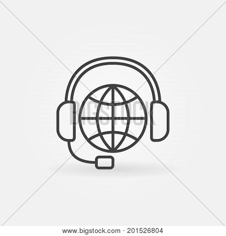 Global support line icon. Vector worldwide consultation and service symbol in thin line style