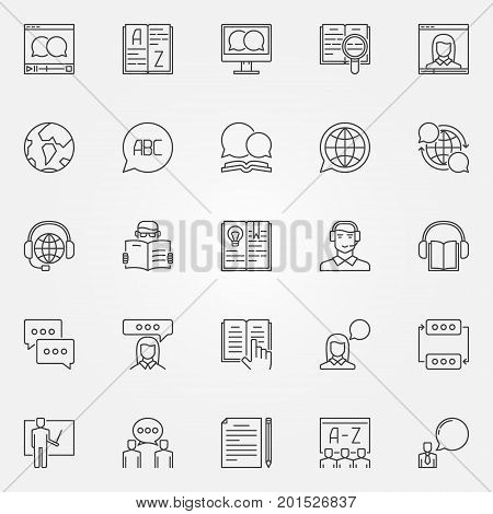 Language learning outline icons. Vector set of learning a foreign language concept signs in thin line style