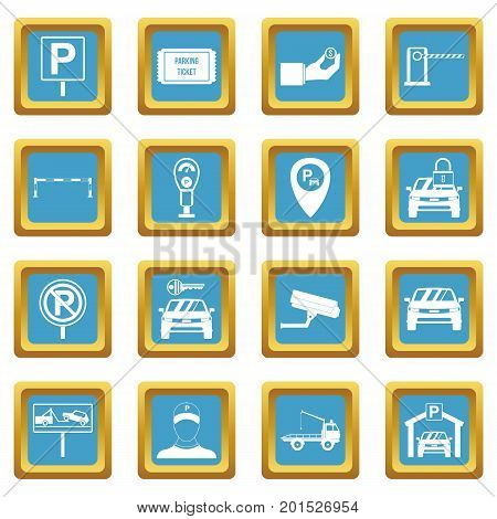Parking set icons set in azur color isolated vector illustration for web and any design