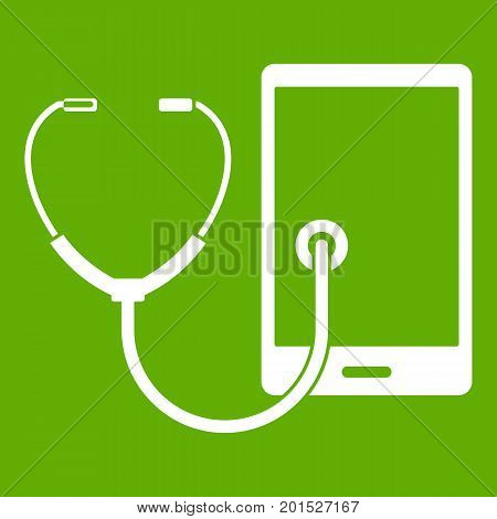 Phone diagnosis icon white isolated on green background. Vector illustration