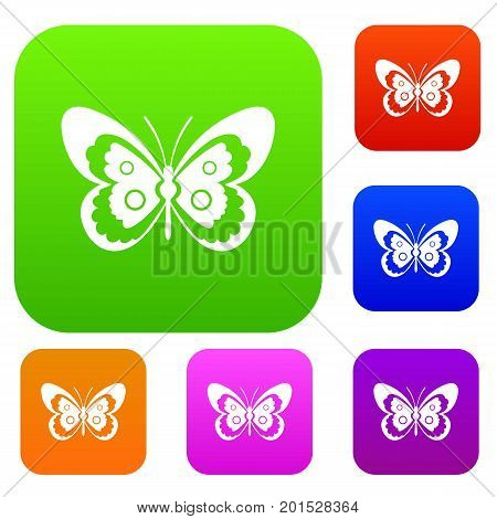 Butterfly set icon in different colors isolated vector illustration. Premium collection