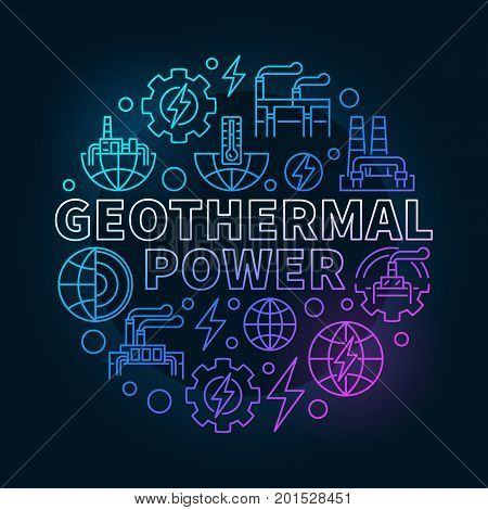 Geothermal power round colorful illustration - vector renewable energy concept outline symbol on dark background
