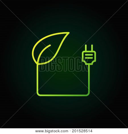 Leaf with plug green icon - vector eco energy concept sign or logo element on dark background
