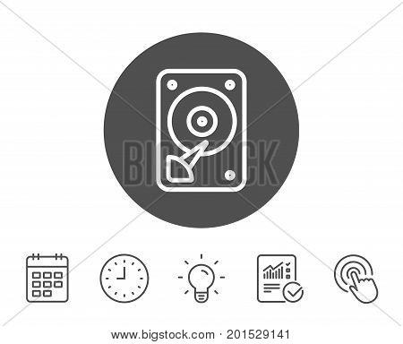 HDD icon. Hard disk storage sign. Hard drive memory symbol. Report, Clock and Calendar line signs. Light bulb and Click icons. Editable stroke. Vector