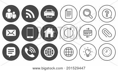 Contact, mail icons. Communication signs. E-mail, chat message and phone call symbols. Document, Globe and Clock line signs. Lamp, Magnifier and Paper clip icons. Question, Credit card and Refresh