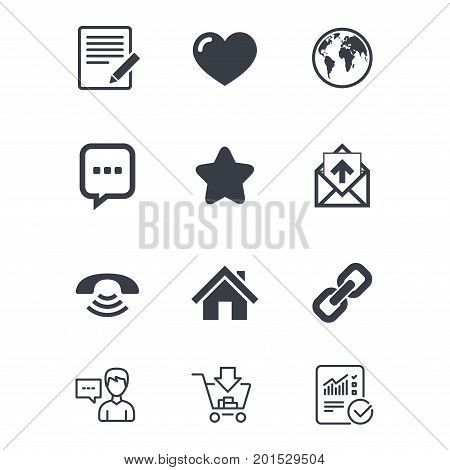 Mail, contact icons. Favorite, like and internet signs. E-mail, chat message and phone call symbols. Customer service, Shopping cart and Report line signs. Online shopping and Statistics. Vector
