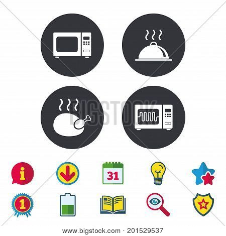 Microwave grill oven icons. Cooking chicken signs. Food platter serving symbol. Calendar, Information and Download signs. Stars, Award and Book icons. Light bulb, Shield and Search. Vector