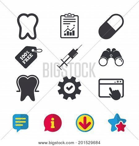 Tooth enamel protection icons. Medical syringe and pill signs. Medicine injection symbol. Browser window, Report and Service signs. Binoculars, Information and Download icons. Stars and Chat. Vector