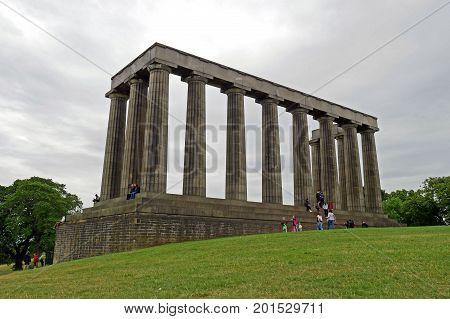 EDINBURGH, SCOTLAND - JULY 17, 2017: National Monument, Calton Hill, Edinburgh, Scotland.