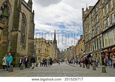 EDINBURGH, SCOTLAND - JULY 17, 2017: Royal Mile street of Edinburgh.