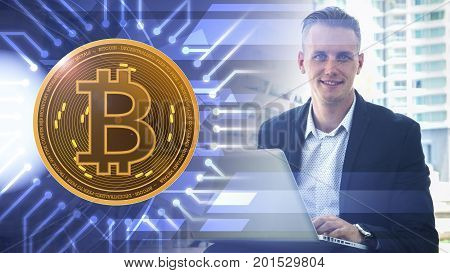 the smart man use the computer laptop at the outdoor public space with the signage of digital graphic overlay pattern and symbol of bitcoin digital currency