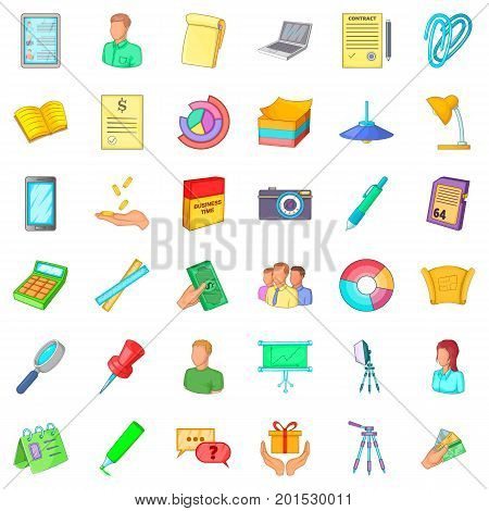 Clerk icons set. Cartoon style of 36 clerk vector icons for web isolated on white background