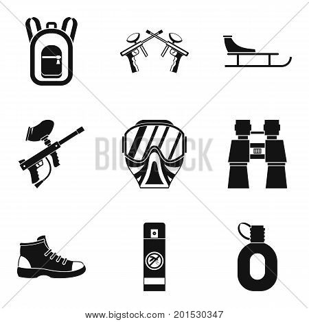 Paintball gun icons set. Simple set of 9 paintball gun vector icons for web isolated on white background