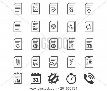 Document Management line icons. Set of Report, Checklist and Copy signs. Download file, Remove and Attach clip symbols. Search, Edit and Corrupt file. Report, Calendar and Service signs. Vector