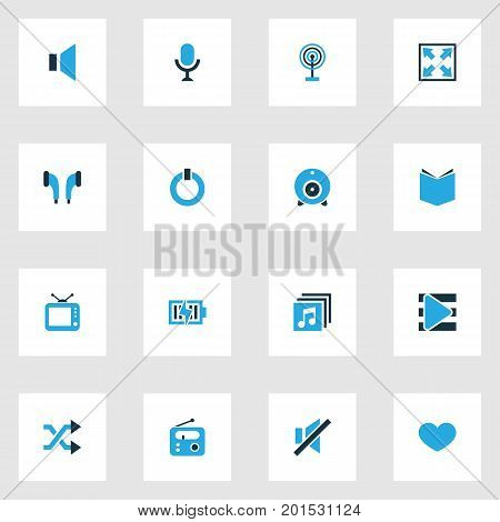 Multimedia Colorful Icons Set. Collection Of Power, Mute, Energy And Other Elements