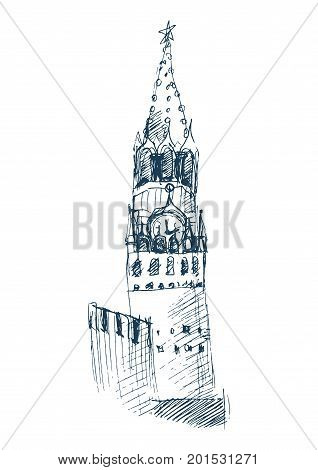 Doodle styled illustration: Spasskaya Tower of the Moscow Kremlin which overlooks the Red Square. Moscow Kremlin Spasskaya Tower with clock and star icon.