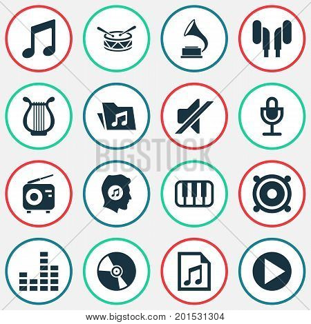 Audio Icons Set. Collection Of File, Octave, Barrel And Other Elements