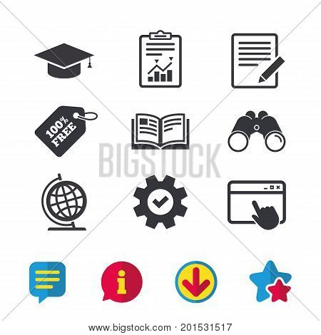 Pencil with document and open book icons. Graduation cap and geography globe symbols. Learn signs. Browser window, Report and Service signs. Binoculars, Information and Download icons. Stars and Chat