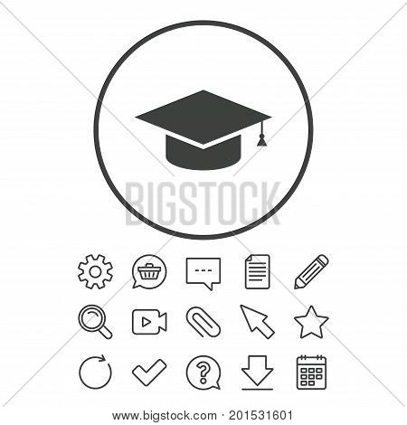Graduation cap sign icon. Higher education symbol. Document, Chat and Paper clip line signs. Question, Pencil and Calendar line icons. Star, Download and Shopping cart. Vector