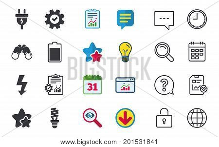 Electric plug icon. Fluorescent lamp and battery symbols. Low electricity and idea signs. Chat, Report and Calendar signs. Stars, Statistics and Download icons. Question, Clock and Globe. Vector