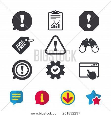 Attention icons. Exclamation speech bubble symbols. Caution signs. Browser window, Report and Service signs. Binoculars, Information and Download icons. Stars and Chat. Vector