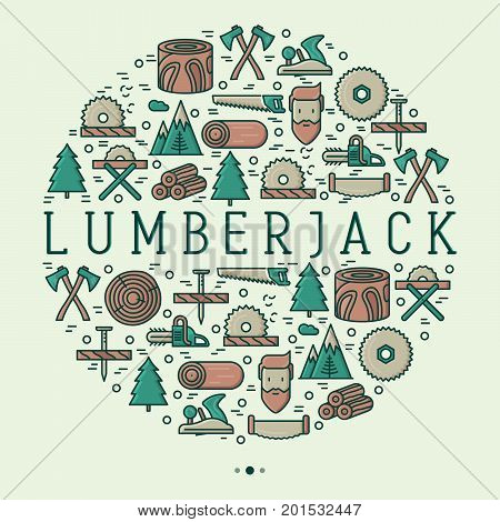 Logging and lumberjack with beard concept in circle and related thin line icons: jack-plane, sawmill, forestry equipment, timber, lumber. Vector illustration for banner, web page, print media.