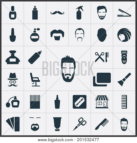 Elements Container, Goatee, Blusher And Other Synonyms Mustache, Goatee And Vial.  Vector Illustration Set Of Simple Barber Icons.