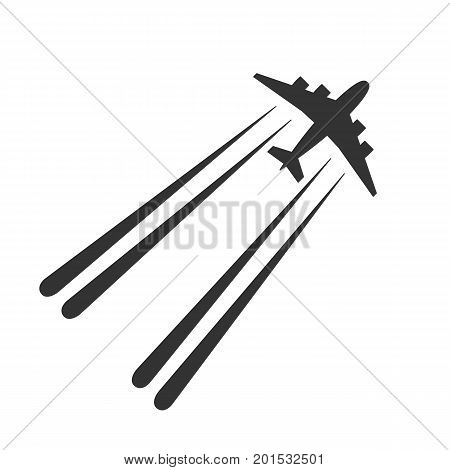 Black isolated silhouette of airplane with jet contrail on white background. View from above of aeroplane with trail