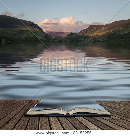 Snowdonia Mountain Range Landscape Reflected In Calm Waters Of Llyn Nantlle In Wales Concept Coming