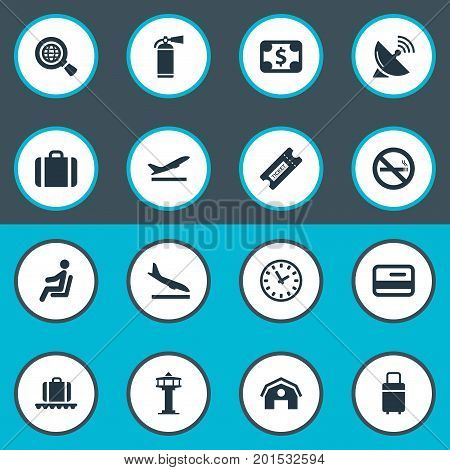 Elements Luggage Carousel, Cigarette Forbidden, Flight Control Tower And Other Synonyms Time, Sitting And Fly.  Vector Illustration Set Of Simple Transportation Icons.