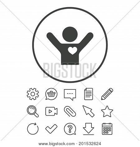 Fans love icon. Man raised hands up sign. Document, Chat and Paper clip line signs. Question, Pencil and Calendar line icons. Star, Download and Shopping cart. Vector
