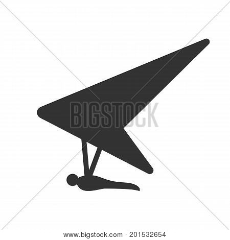 Black isolated silhouette of hang glider on white background. Icon of side view of hang-glider