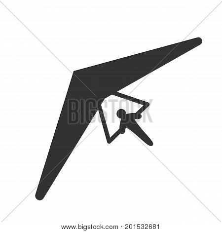 Black isolated silhouette of hang glider on white background. Icon of above view of hang-glider