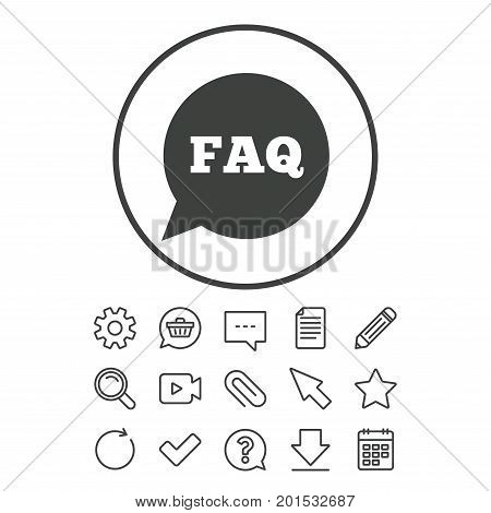 FAQ information sign icon. Help speech bubble symbol. Document, Chat and Paper clip line signs. Question, Pencil and Calendar line icons. Star, Download and Shopping cart. Vector