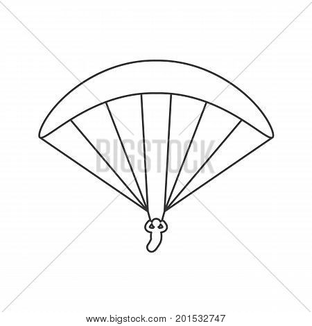 Black outline icon of paraglider on white background. Line Icon of side view of parachute