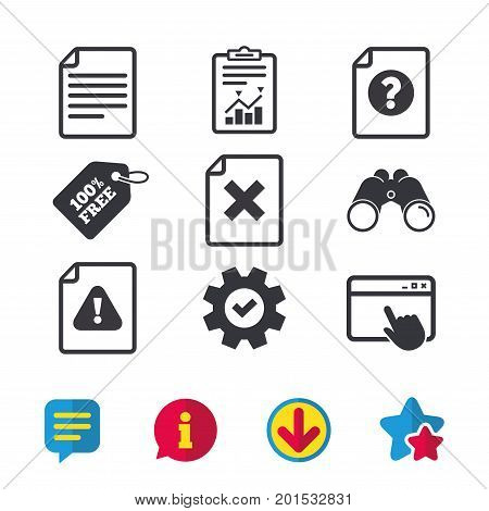 File attention icons. Document delete symbols. Question mark sign. Browser window, Report and Service signs. Binoculars, Information and Download icons. Stars and Chat. Vector