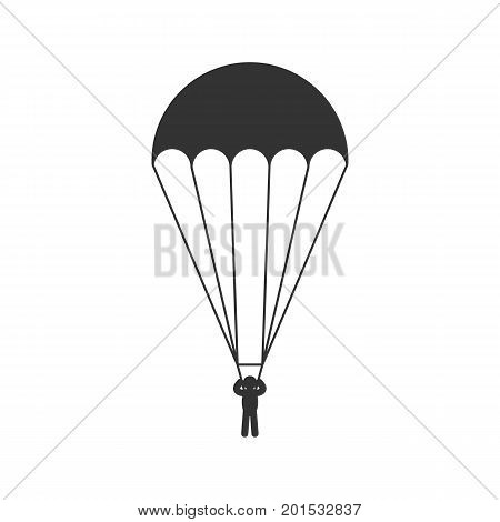 Black isolated silhouette of parachute on white background. Icon of side view of parachutist