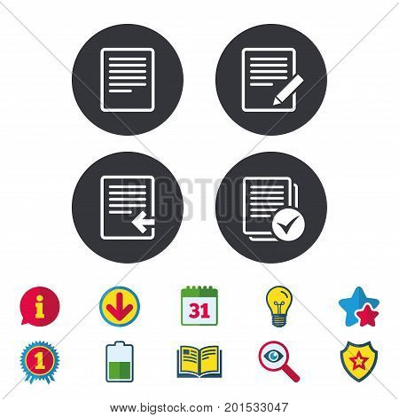 File document icons. Upload file symbol. Edit content with pencil sign. Select file with checkbox. Calendar, Information and Download signs. Stars, Award and Book icons. Light bulb, Shield and Search