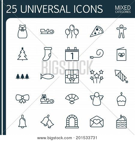 New Icons Set. Collection Of Firework, Sliced Pizza, Arch And Other Elements