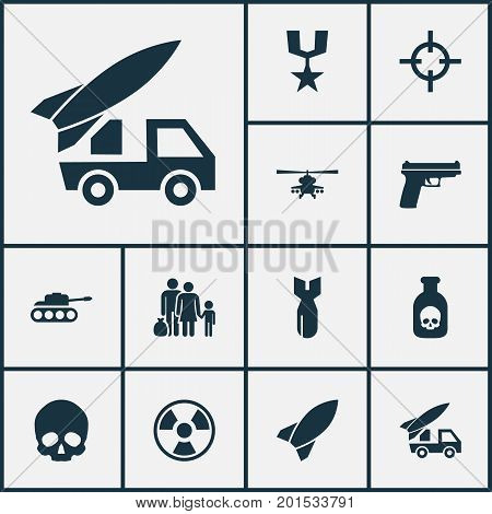 Combat Icons Set. Collection Of Panzer, Rocket, Cranium And Other Elements