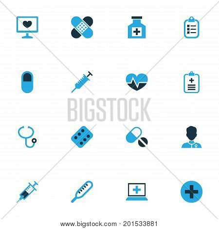 Antibiotic Colorful Icons Set. Collection Of Physician, Vaccine, Pellet And Other Elements