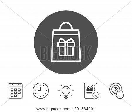 Shopping bag with Gift box line icon. Present or Sale sign. Birthday Shopping symbol. Package in Gift Wrap. Report, Clock and Calendar line signs. Light bulb and Click icons. Editable stroke. Vector