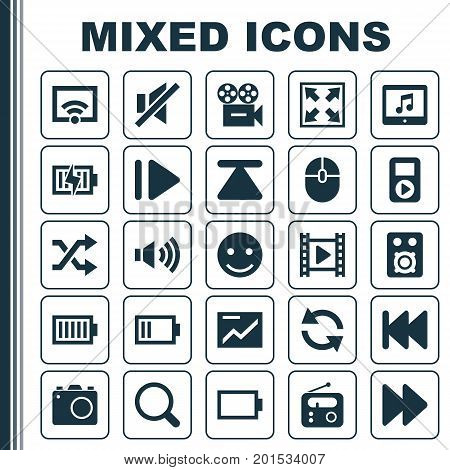 Multimedia Icons Set. Collection Of Empty Accumulator, Movie, Energy And Other Elements