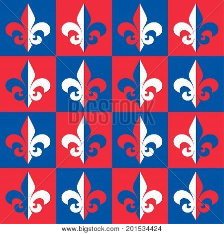 Red, Blue and White The Fleur de Lis or Flower de Luce seamless pattern. Background with royal French lily is great for perfume packaging, wallpaper, luxury restaurant menu cover.