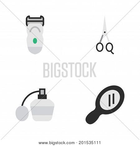 Elements Electronic, Glass, Scissors And Other Synonyms Scissors, Glass And Mirror.  Vector Illustration Set Of Simple Barber Icons.