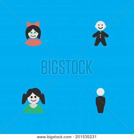 Elements Guy, Girl, Female And Other Synonyms Human, Profile And Boy.  Vector Illustration Set Of Simple Profile Icons.