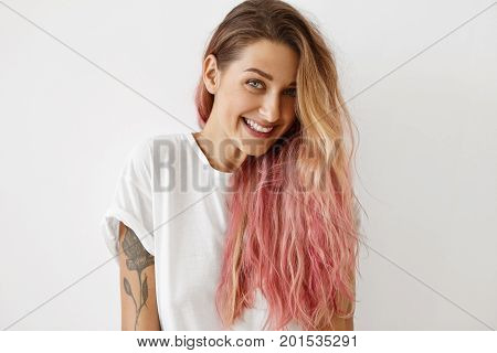 Style, Fashion And Hair Coloring Concept. Portrait Of Gorgeous Young Female With Charming Smile, Tat